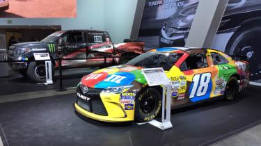 Toyota Camry NASCAR car and Toyota Tundra TRD PRO Desert Race Truck