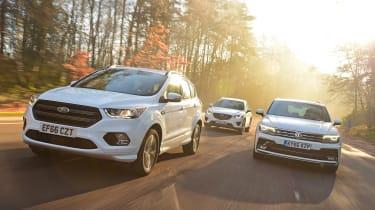 Ford Kuga vs Volkswagen Tiguan vs Mazda CX-5 - front