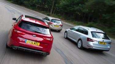 Kia Optima Sportswagon vs Skoda Superb Estate vs Volkswagen Passat Estate - header