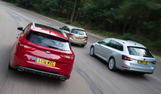 Kia Optima Sportswagon vs Skoda Superb Estate vs Volkswagen Passat Estate - header