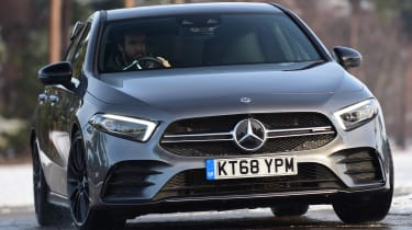 mercedes-amg a35 driving cornering front