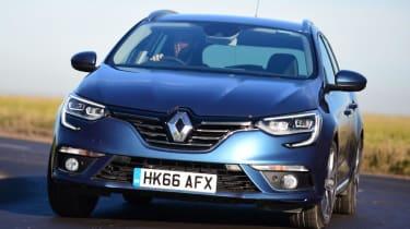 Renault Megane Sport Tourer - front cornering blue