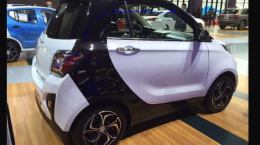 Small electric cars were everywhere at Shanghai Auto Show, and the one getting the most attention was this. Clearly mixing the looks of a Smart – and its distinctive Tridion safety cell – the E30 also sports a knock-off Tesla Model S-s