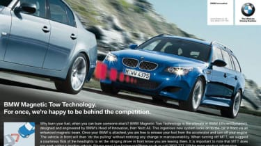 """One of&nbsp;<a href=""""https://www.autoexpress.co.uk/bmw"""">BMW</a>'s best&nbsp;April Fools jokes was the 2009 announcement of Magnetic Tow Technology.  The system purported to use a magnetic field that would allow BMW drivers to creep u"""