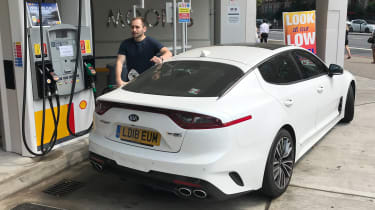 Kia Stinger - long-term final report petrol station