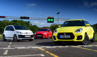 Suzuki Swift Sport vs Volkswagen up! GTI vs Ford Fiesta ST-Line - header