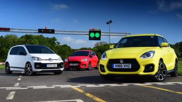 Suzuki Swift Sport vs Volkswagen up! GTI vs Ford Fiesta ST-Line - header