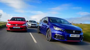 Peugeot 308 GTi vs VW Golf GTI vs Skoda Octavia vRS - header