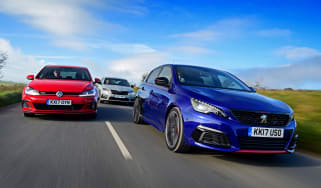 Peugeot 308 GTi vs VW Golf GTI vs Skoda Octavia vRS - header