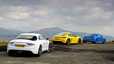 Audi TTS vs Alpine A110 vs Porsche 718 Cayman - rears