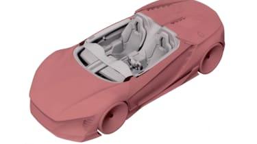 Mystery Honda patent render top front quarter - S2000