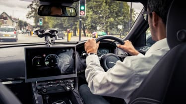 Jaguar Land Rover Traffic Light Assist tech in car