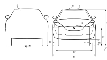 Dyson electric car patent drawings front rear