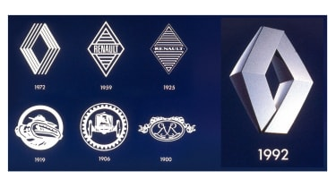Renault badges throughout brand's history