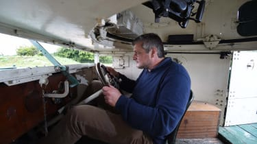 Interior offers luxury of a seat for driver, and our man Rosamond had plenty of headroom, but gunner and commander were forced to crouch on the floor