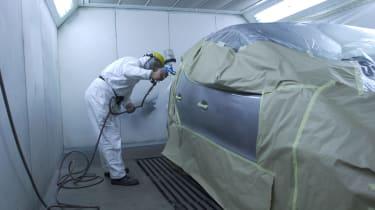 Car body repair bodyshop paint spray