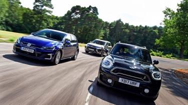 MINI Countryman S E vs Volkswagen Golf GTE vs Mitsubishi Outlander PHEV - header