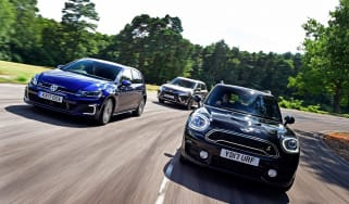 MINI Countryman S E vs Volkswagen Golf GTE vs Mitsubishi Outlander PHEV - header