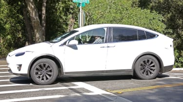 Tesla Model X spyshots side front