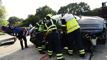 Fire crew road accident preparations gaining access