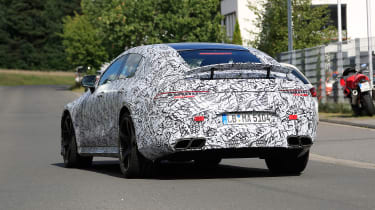 Mercedes AMG GT four-door spy shot rear quarter
