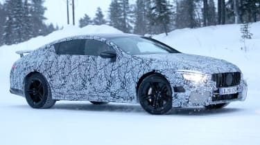 Mercedes AMG GT four door spy shot front quarter