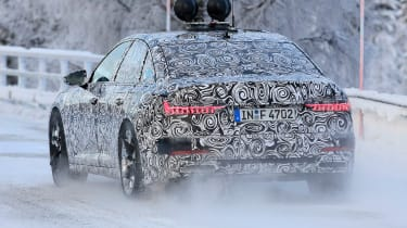 2018 Audi A6 spy shot rear quarter