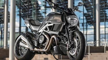 Ducati Diavel review - black parked