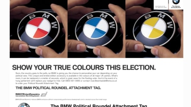 """<span>As election fever gripped the country in 2010, BMW looked to cash in with a political April Fools' Day effort.&nbsp;<span>The Political Roundel Attachment Tag (PRAT) was an opportunity for&nbsp;</span><a href=""""https://www.autoexp"""
