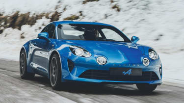 Alpine A110 sports car 2017 - front tracking