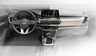 Kia SUV interior teaser sketch