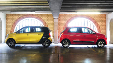 Smart ForFour and Renault Twingo back to back
