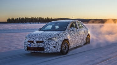 Vauxhall Corsa winter testing - front action