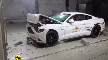 Ford Mustang crash test white