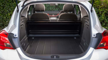 The rear seats of the supermini version are replaced by a flat load floor.
