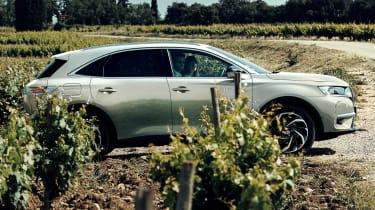 DS 7 Crossback E-Tense hidden behind bush