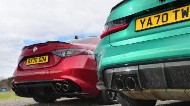 BMW M3 Competition vs Alfa Romeo Giulia Quadrifoglio - rear