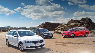 Skoda Octavia Estate vs VW Golf Estate vs Renault Megane Sport Tourer - header