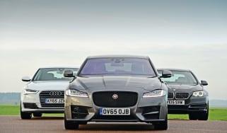 Jaguar XF vs Audi A6 vs BMW 5 Series - group test front