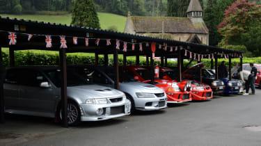Mitsubishi's 100th year celebration - Evos parked