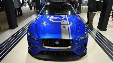 Jaguar XE SV Project 8 - blue Goodwood full front