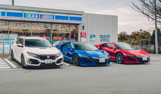 Honda Civic Type R and two NSXs