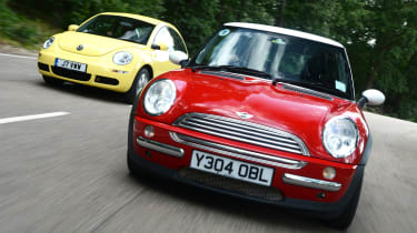 MINI Cooper vs VW Beetle - modern classic head-to-head