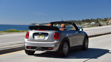MINI Cooper S Convertible 2016 review - rear tracking 2