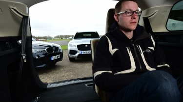 Jaguar F-Pace vs Land Rover Discovery Sport vs BMW X3 - rear space