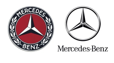 Mercedes badges old and new